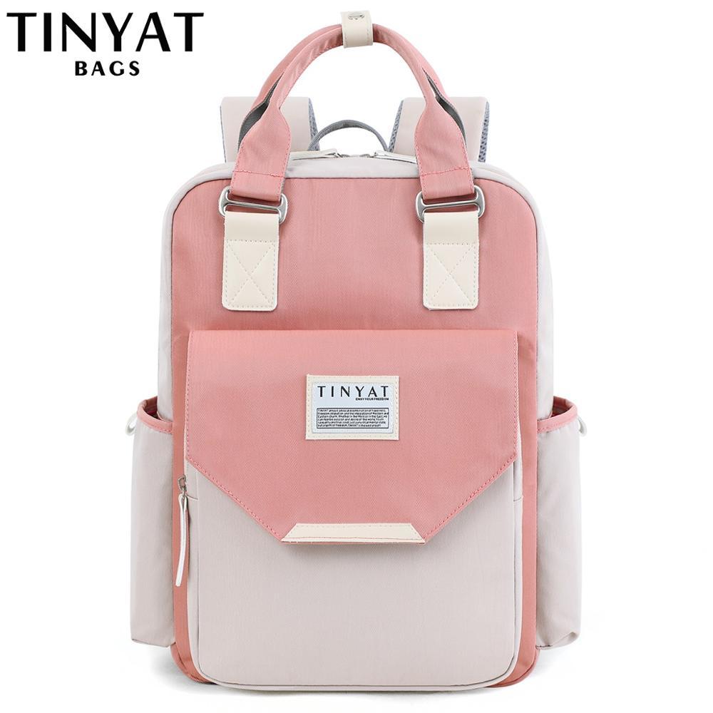 TINYAT Candy, mochila de lona para mujer, mochila impermeable para ordenador portátil, 15 mochilas escolares de Patchwork rosa, bolsas para chicas adolescentes