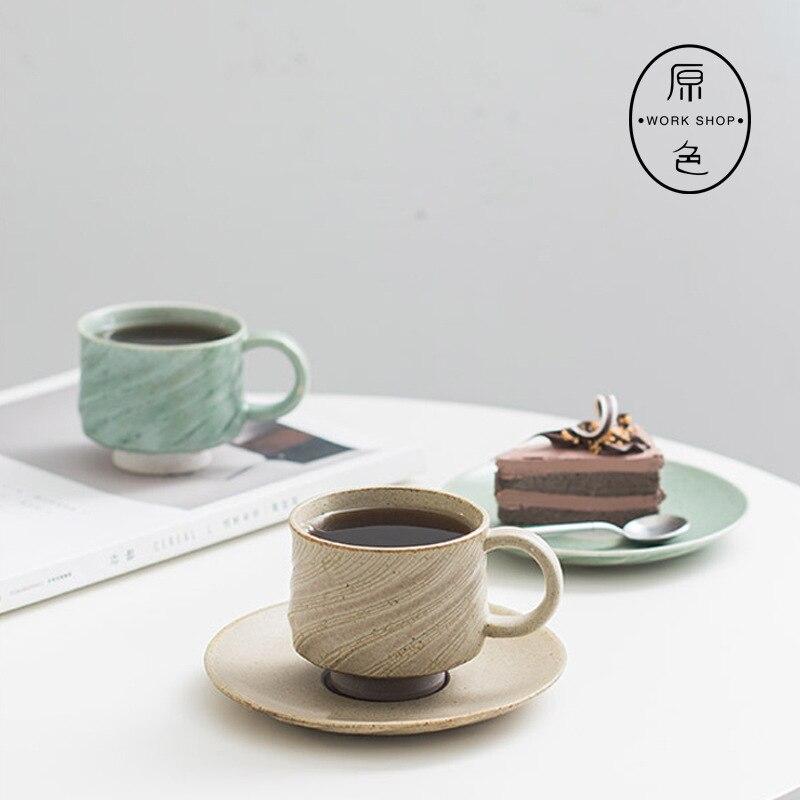 Caneca de café grossa feita à mão, de cerâmica, com prato, caneca, copos, casal, estilo europeu