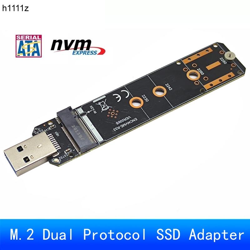 لوحة SSD ثنائية البروتوكول ، M.2 إلى USB 3.0 ، محول PCIe NVME NGFF SATA M2 SSD لـ 2230 2242 2260 2280 NVME/SATA M.2 SSD RTL9210B