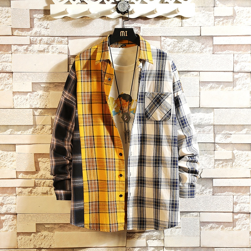 Camiseta xadrez estilo harajuko ulzzang, camisetas soltas estilo vintage para homens e mulheres gotas de gotas