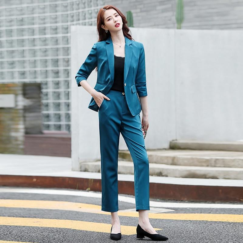 Costume deux pièces en Satin, en acétate, Simple, élégant, taille Slim, tendance automne 2021
