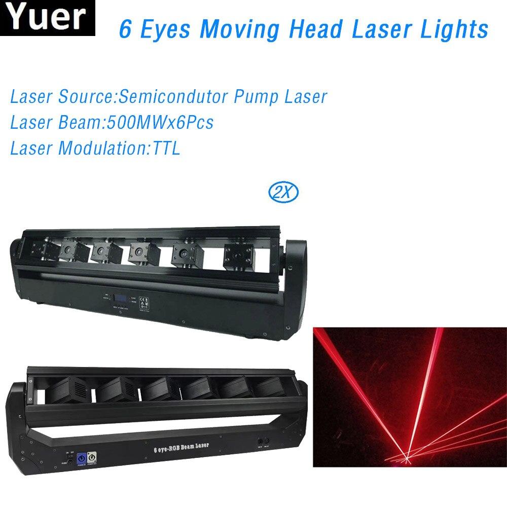 Лазерные огни с движущейся головкой, 6 глаз, 2 шт./лот, лазерные огни, 500 мВт * 6 шт., оборудование для дискотеки, проектор для вечерние ринки, клу...
