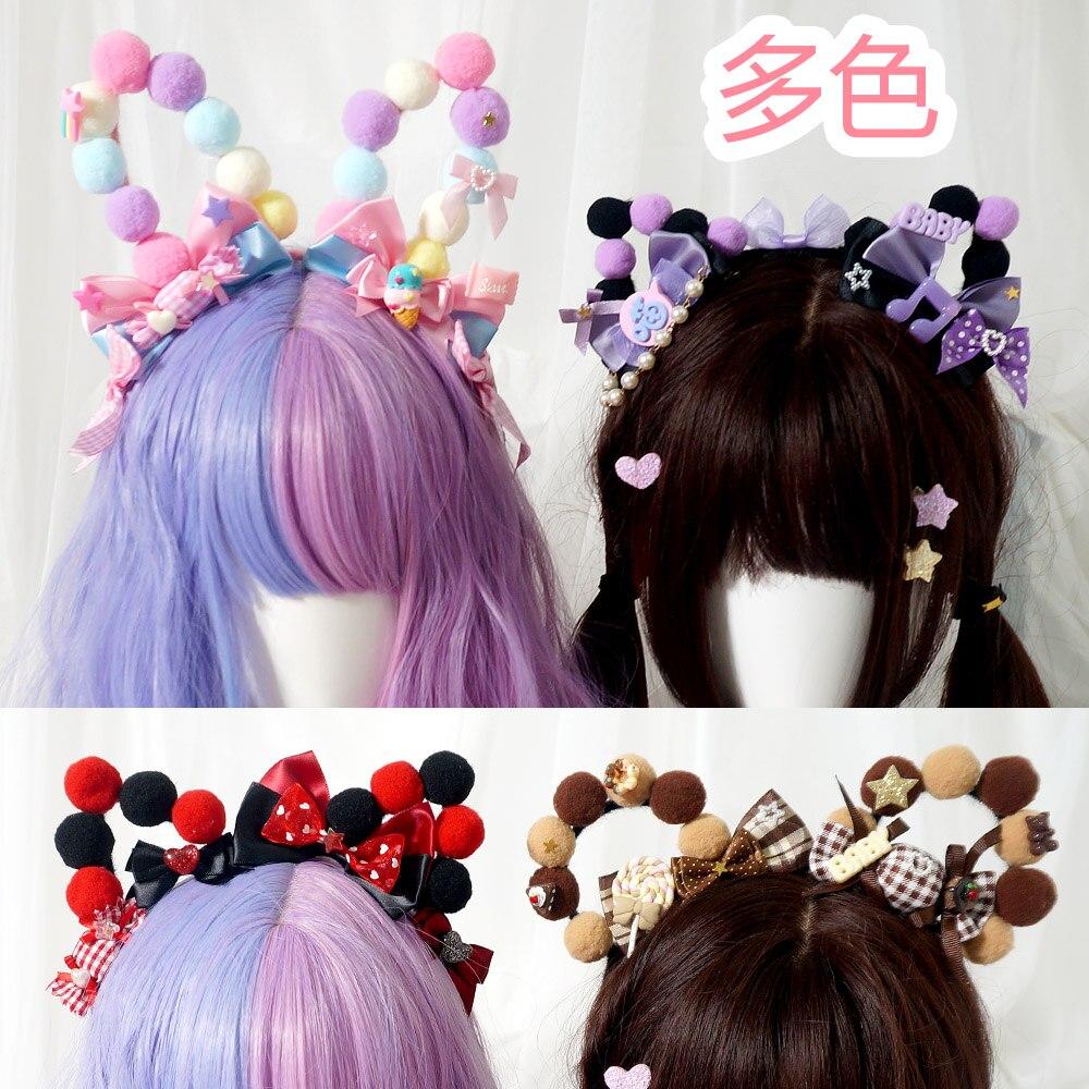 Crema de fresa Kawaii gato y oso y Orejas de conejo arco cabeza aro dulce princesa banda para el cabello ropa de cabeza Lolita Linda KC diadema