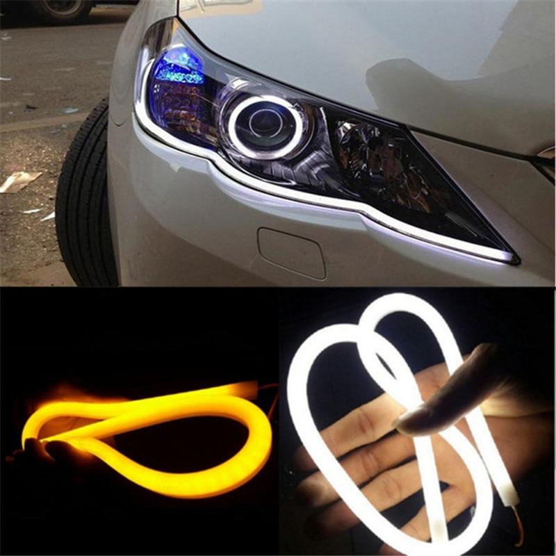 2 pces 12 v led luzes diurnas do carro flexível drl automóveis transformar a luz do sinal 30cm 40cm 60cm automóvel anjo olhos estilo do carro
