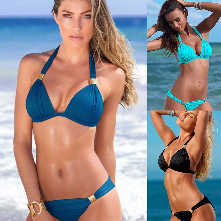 YICN Sexy Bikinis Women Swimsuit Push Up Large Bikini Set Bathing Suits Halter Summer Beach Wear biquini Plus Size Swimwear XXL