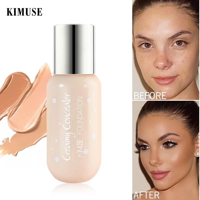 Base de maquillaje líquida mate KIMUSE 24H, cobertura completa, Corrector facial, líquido Corrector profesional, maquillaje impermeable