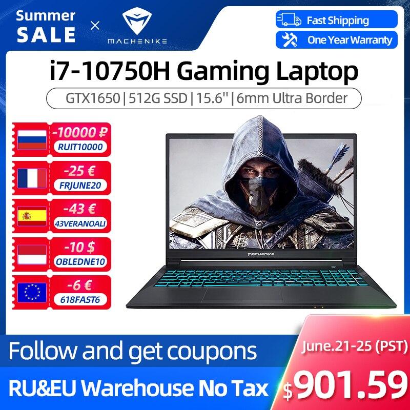 Machenike T58 Gaming Laptop intel i7 10th Gen 15.6 FHD Laptop GTX1650 Computer Laptops 16G RAM 512G SSD 1T HDD Notebook IPS