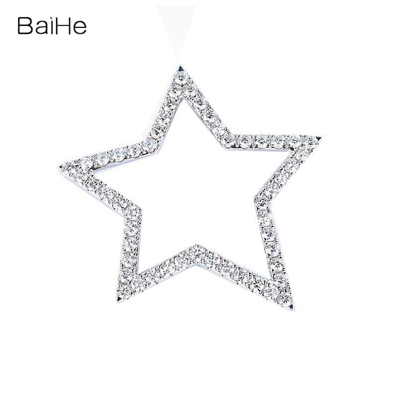 BAIHE sólido 18K oro blanco 1ct diamantes naturales mujeres joyería fina de compromiso boda de moda hermosa estrella diamante colgante