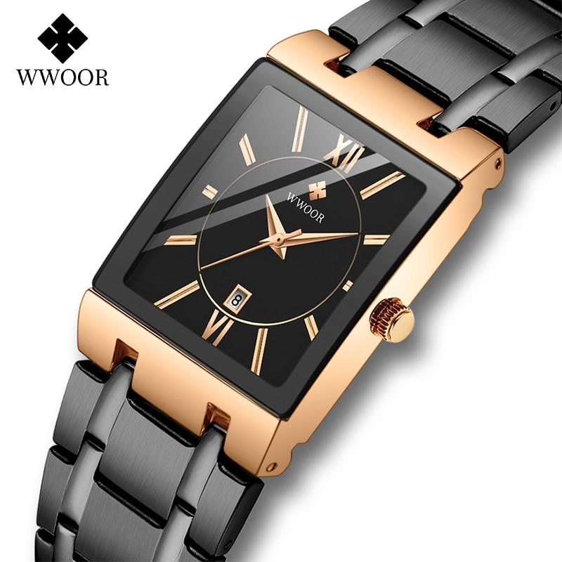 WWOOR Rose Gold Watch Women Square Quartz Waterproof Ladies Watches Top Brand Luxury Elegant Wrist Watch Female Relogio Feminino