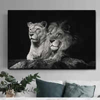 black white lion paintings on canvas posters and prints modern cuadros animal art wall picture for living room home decor