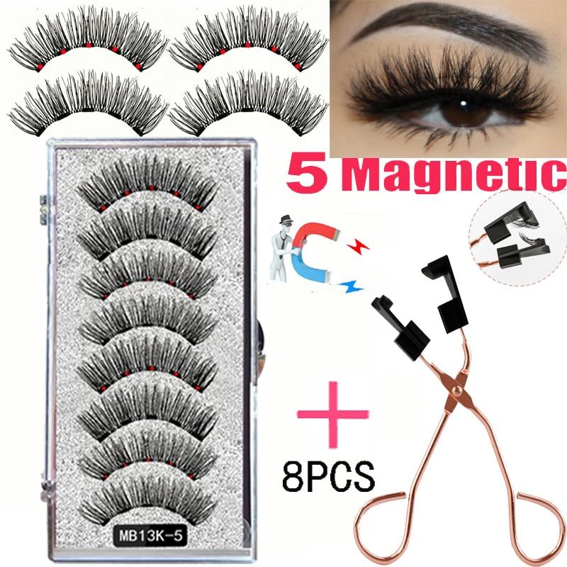 LEKOFO 8PCS 5 Magnetic eyelashes with 4 pairs magnets magnetic lashes natural Mink eye lashes with faux cils magnetique tweezers