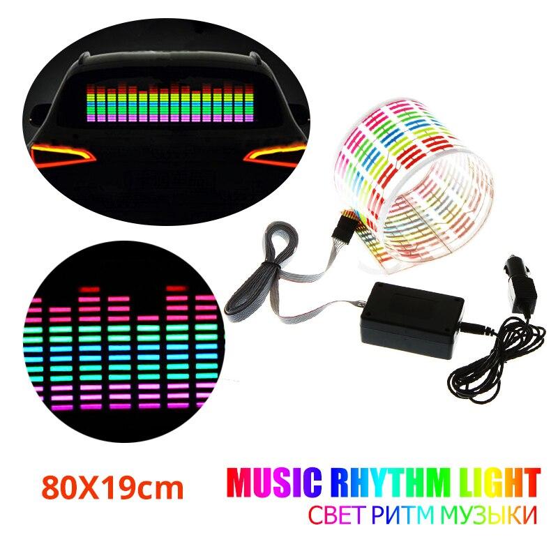 80X19cm coche música ritmo luz Flash coche pegatina música ritmo LED hoja de luz lámpara sonido ecualizador activado con música
