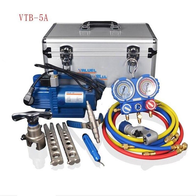 قيمة 7in1 VTB-5A التبريد أداة إصلاح مجموعة مع سبائك الألومنيوم صندوق أدوات التبريد مجموعة مضيئة جهاز مضخة تفريغ