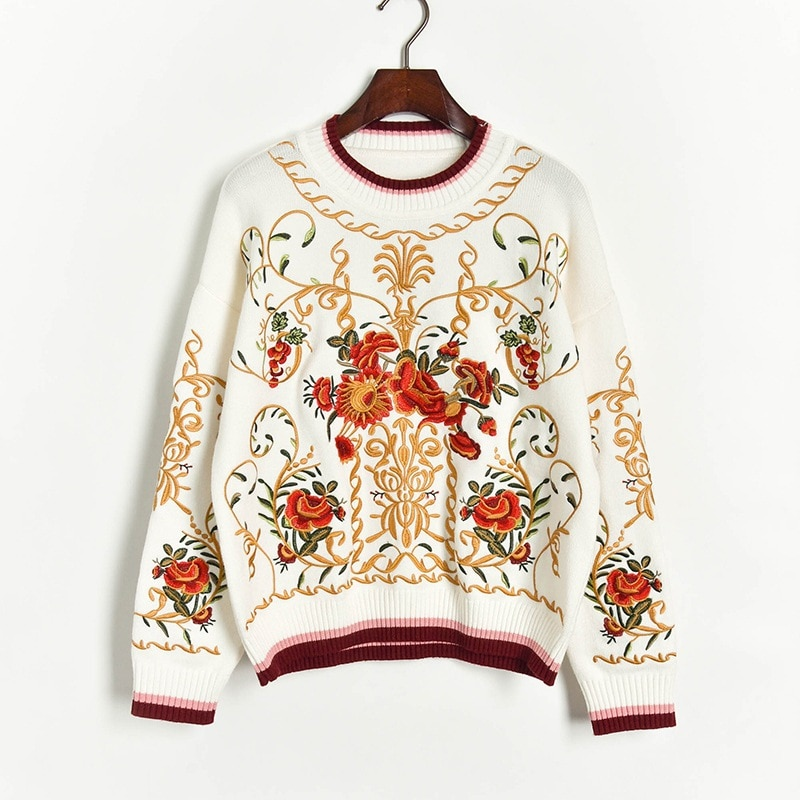 High Quality Luxury Floral Embroidery Autumn Winter Wool Blend Jumper Sweater Women's Runway Thick Knitted Pullover Sweater Tops enlarge