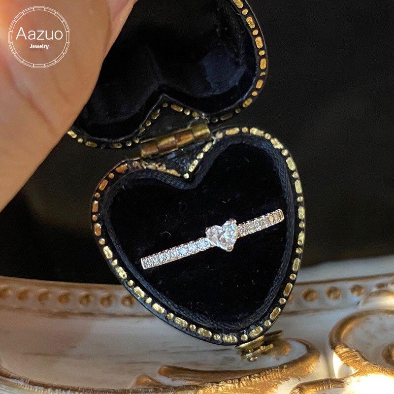 Aazuo-خاتم من الذهب الأبيض عيار 18 قيراطًا مرصع بالألماس على شكل قلب ، خاتم على شكل قلب جميل 0.15 قيراط للنساء ، هدية عيد ميلاد