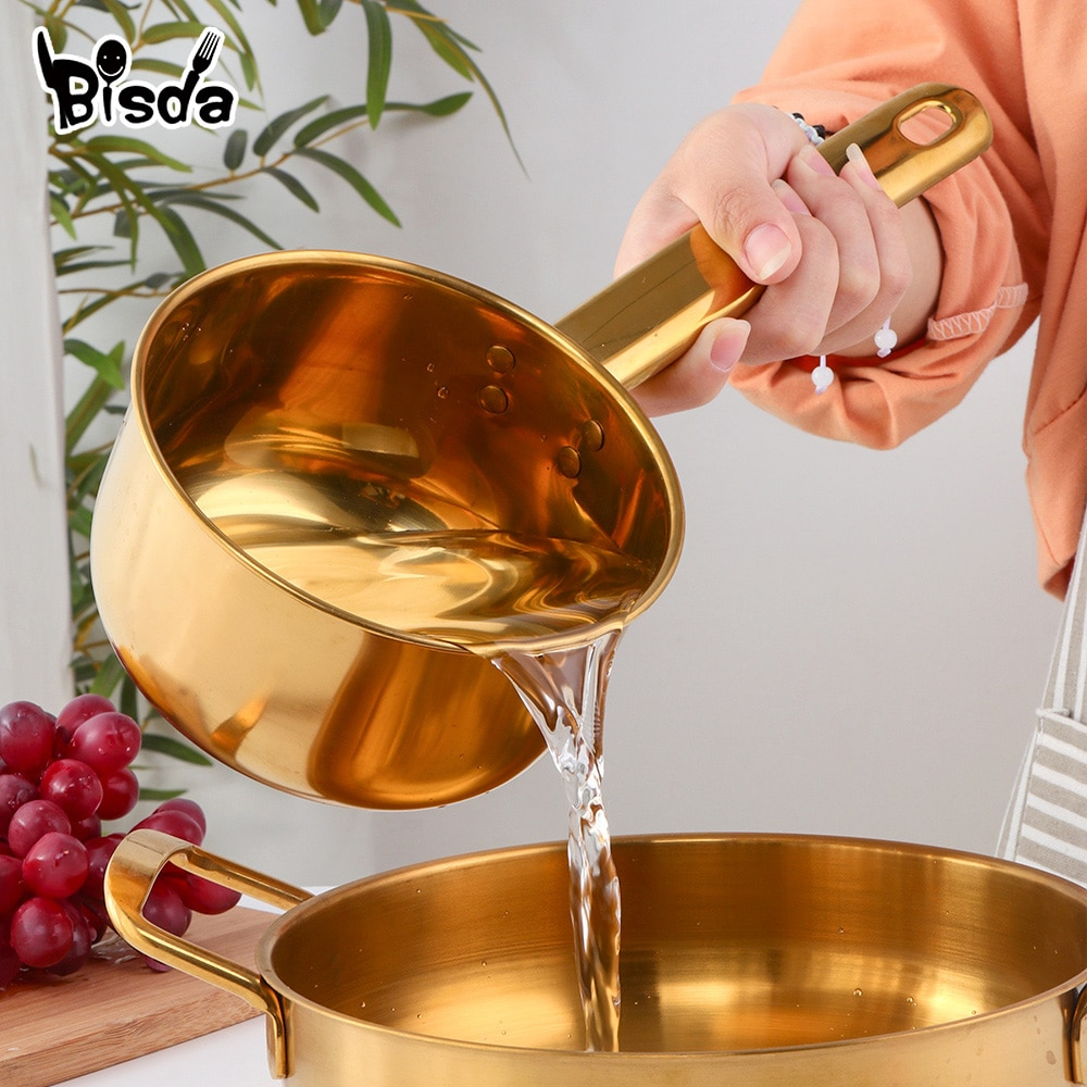 Stainless Steel Water Scoop Long Handle Water Spoon Gold Ladle Food Serving Spoon Fruit Holder Soup Spoon Kitchen Household