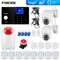 Systeme dalarme de securite 4G Tuya Alexa  wi-fi  GSM  2mp  camera exterieure  pour maison intelligente  sirene Flash anti-cambriolage  detection de mouvement