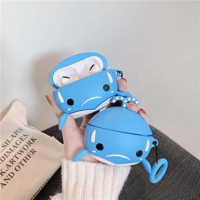 For Mi Air Dots Pro 2 Case Kawaii 3D Shark Fish Headphone Earphones Case For Xiaomi Air 2 Mi Airdots Pro 2 Silicone TPU Cover
