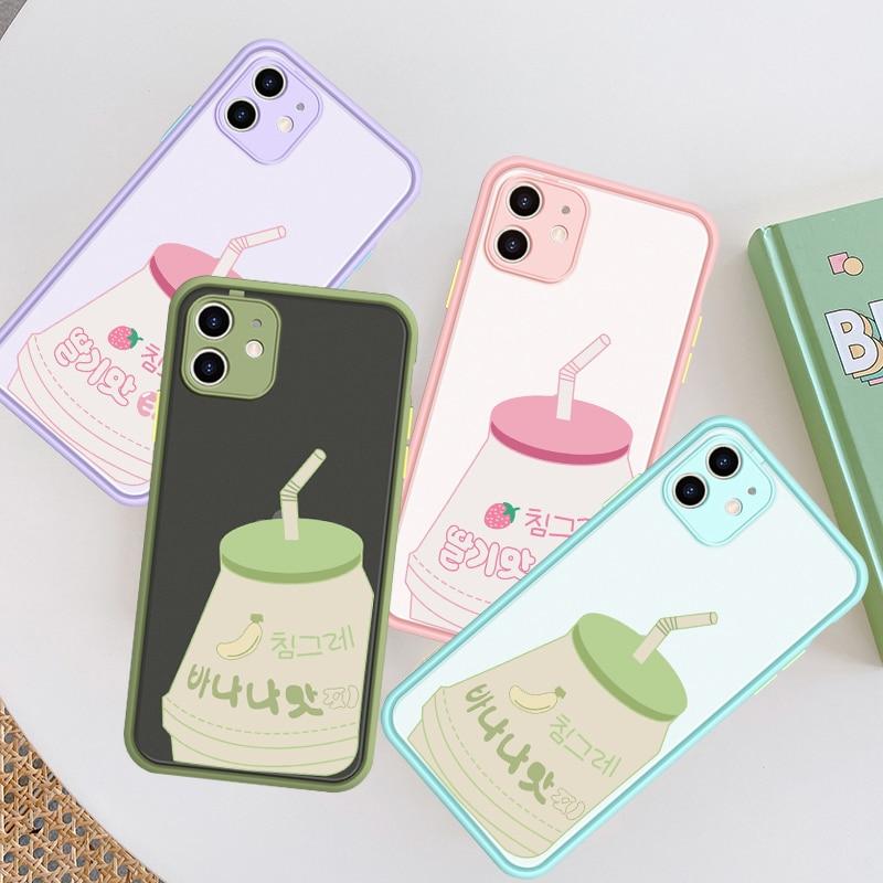 JAMULAR Japón Corea plátano leche bebida teléfono caso para iPhone 7 11 Pro XS MAX X XR SE 20 8 6 Plus a prueba de golpes caramelo cubierta de silicona