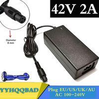 Универсальное зарядное устройство для аккумуляторов 42 в, 2 А, блок питания 100-240 В переменного тока для самобалансирующегося скутера, зарядно...