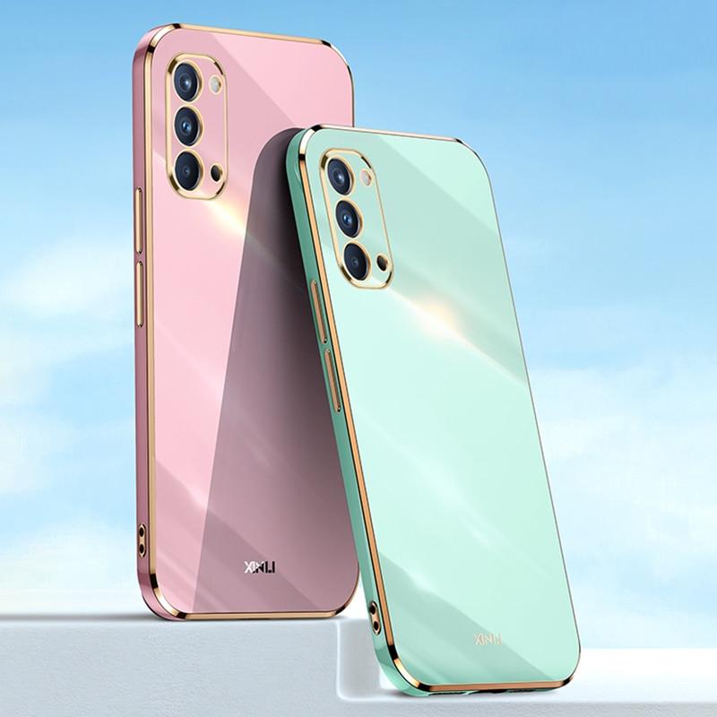 Original Square Plating Silicone Case for OPPO Reno 4 Pro 4Z Fundas Reno4 4pro 5G with Phone Ring Ho