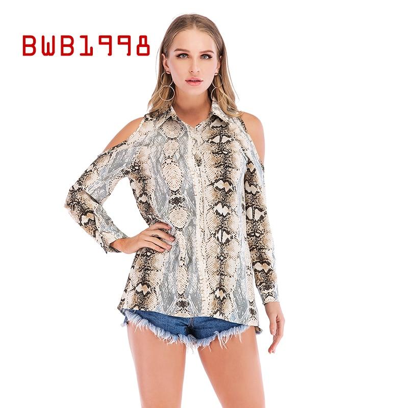 BWB1998 ropa de otoño camisa de mujer blusa Sexy estampado de serpiente fuera del hombro fuga pecho camisa de manga larga con botones Top