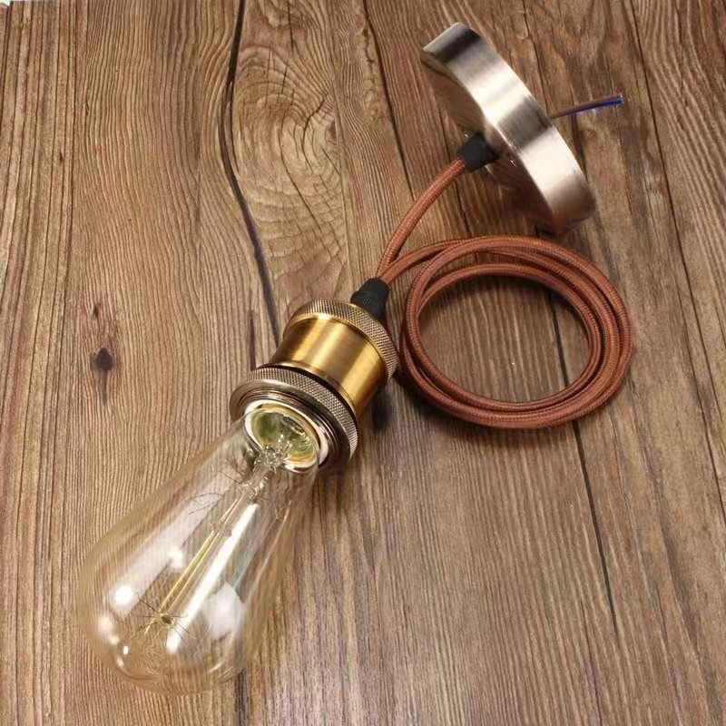 Toma de lámpara E27 sin bombilla, lámpara colgante Vintage Edison, lámpara colgante textil