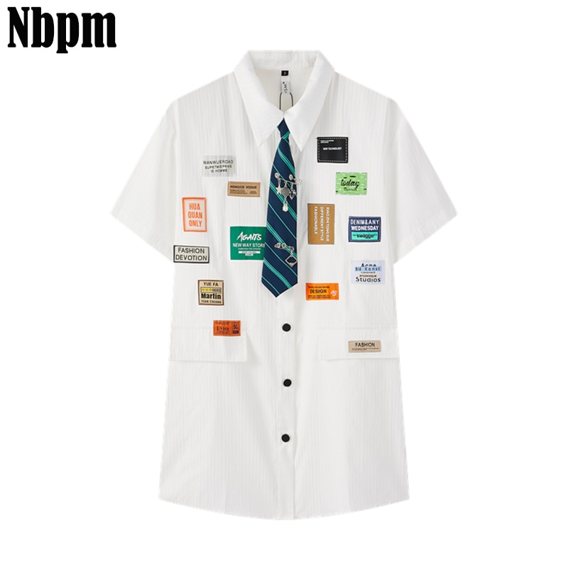 New 2021 Women Labeling Decoration Casual White Tie Blouse Office Lady Shirts Chic Blusas Tops College Style Blouses Clothing