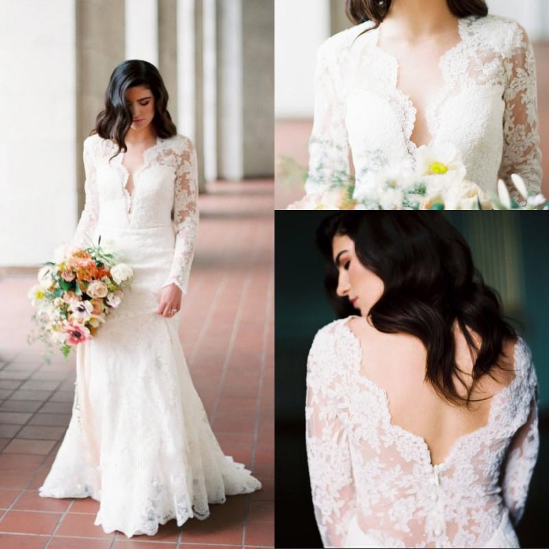 Vintage Plus Size Wedding Dresses Lace Applique Deep V Neck Long Sleeves Floor Length Backless Wedding Dress Bridal Gowns недорого