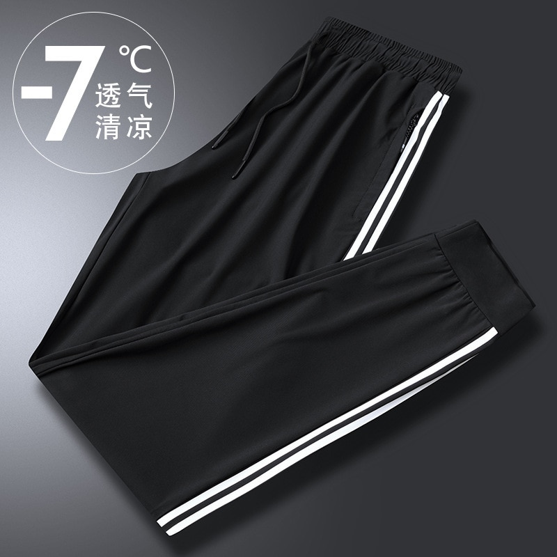 Seção calças de seda gelo calças masculinas nove pontos de esportes masculinos lazer ar condicionado calças de secagem rápida muito solto