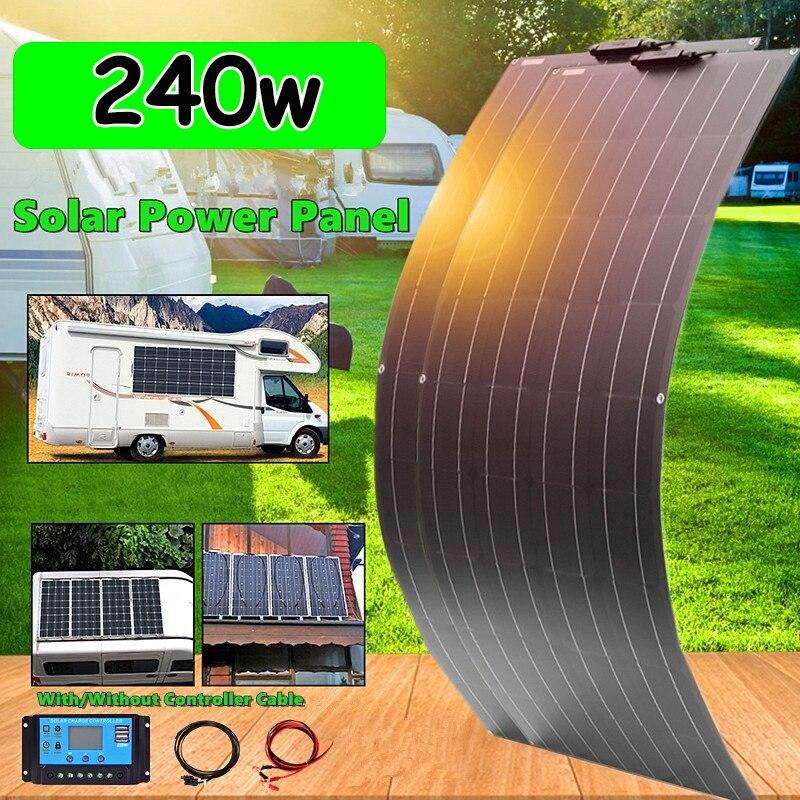 Solar para 12v24v Placa Solar Painel Completo 200w 100w 120w 240w Carregador Bateria Carro Barco rv Caravana Campista Telhado Sistema Doméstico 12v Kit