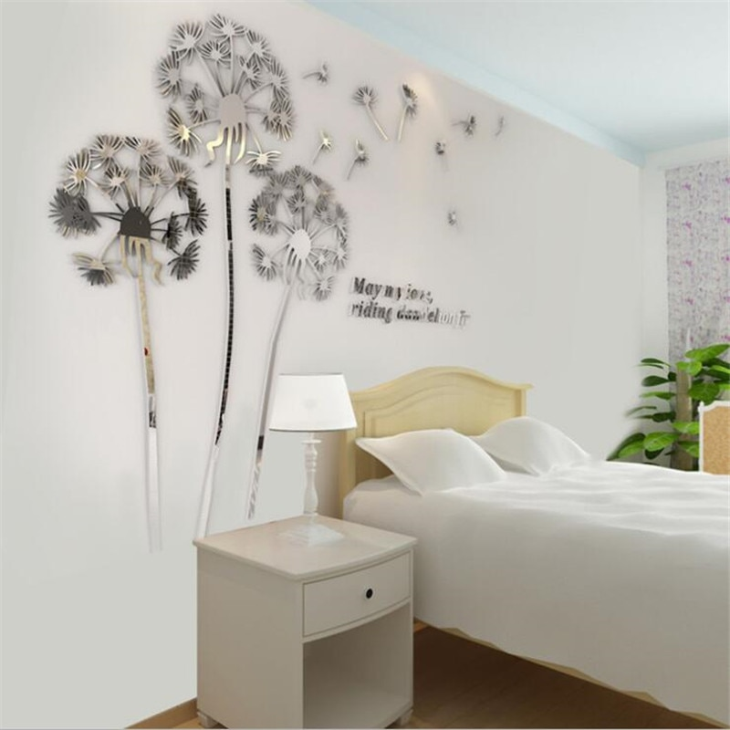 Dandelion Wallpaper Mural Modern Design Acrylic Wall Stickers Diy Home Decoration Living Room TV Background