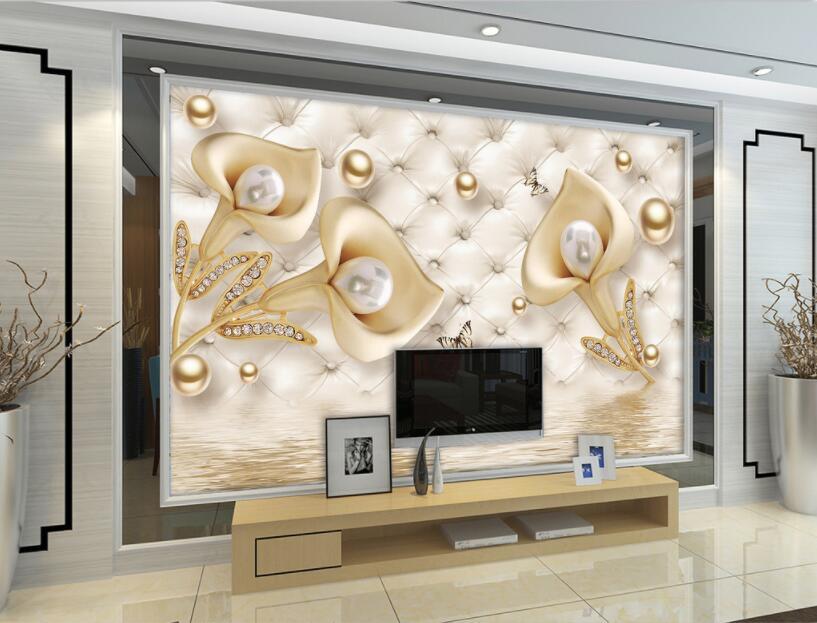 CJSIR personalizado papel pintado Mural 3d joyería de alta calidad cala lirio estéreo suave perla fondo de pared papel decoración papel de parede