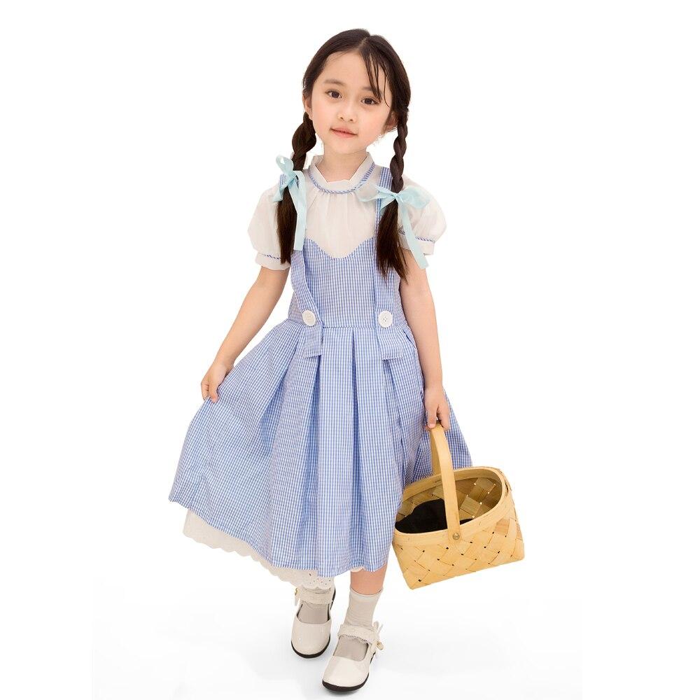 Primária criança meninas feiticeiro de oz dorothy camponês traje criança um pedaço vestido criança grupo cosplay roupas para meninas 4-11t