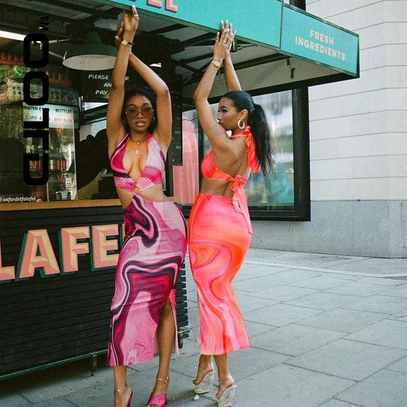 OOTD Vestidos Mujer Verano 2021 комплект из двух частей Женская юбка Повседневное платье костюм богемное праздничное платье с подтяжками