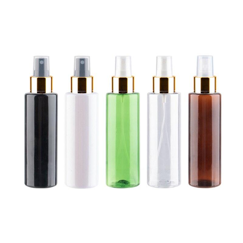 200 مللي x 30 فارغة شفافة رذاذ زجاجات مع الذهب الألومنيوم طوق مضخة الأبيض البلاستيك حاوية زجاجة رذاذ خفيف البخاخ