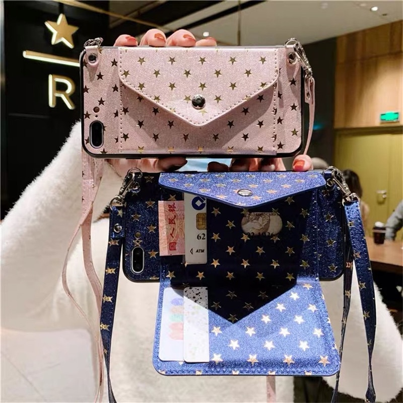Gold Star Card Holder Phone Case with Crossbody Lanyard for iPhone 7 8 6S PLUS SE X XR XS 11 12 Pro Max Strap Cord Wallet Cover enlarge