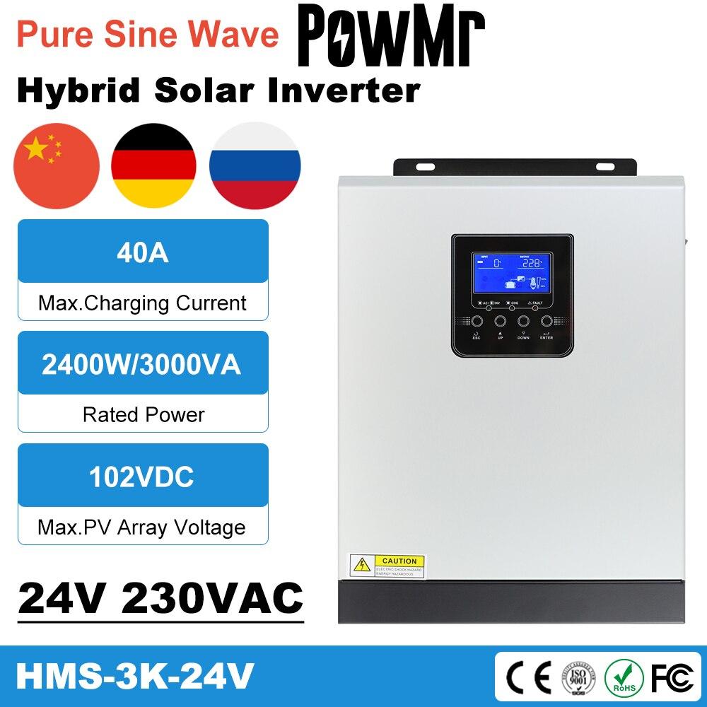 PowMr الشمسية العاكس 2400 واط 220 فولت 40A MPPT 3KVA نقية شرط لموجة العاكس 50 هرتز خارج الشبكة العاكس 24 فولت شاحن بطارية العاكس
