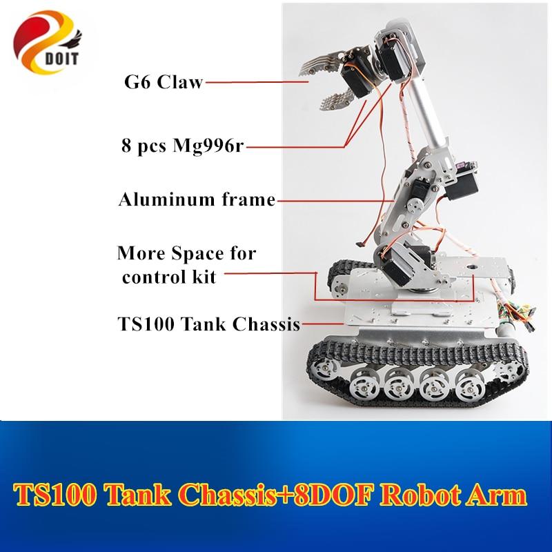 Robot móvil TS100 tanque con amortiguador chasis + 8 brazo mecánico DOF para agarrar el transporte Proyecto Educativo DIY