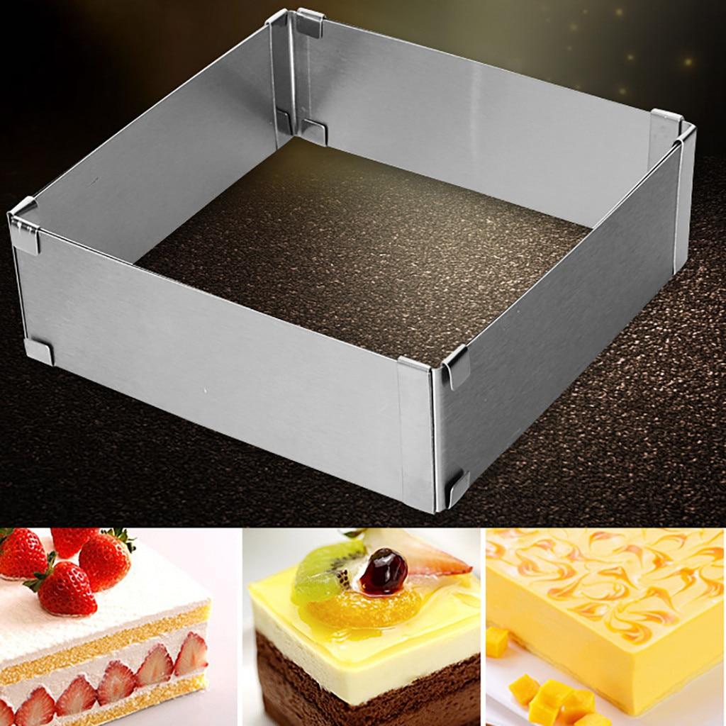 Adjustable Cake Mold Stainless Steel Square Form Mousse Bread Cake Baking Mould Presentoir Gateau Metal Cake Making Tray Model