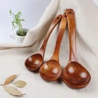 natural wooden spoon rice soup long handle teaspoon mixing stir tableware home dinnerware kitchen cooking scoop accessories