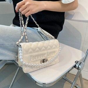 Pearl Chain Bags Women's 2021 New Fashion Rhombic Messenger Bag Ins Small Square Bag Purses and Handbags Luxury Designer