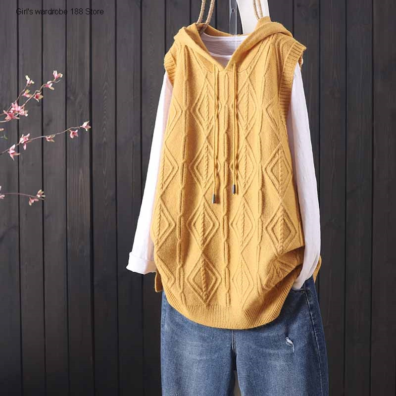 new-products-in-autumn-and-winter-loose-and-solid-color-hooded-pullover-sleeveless-knitted-waistcoat-womens-commuting