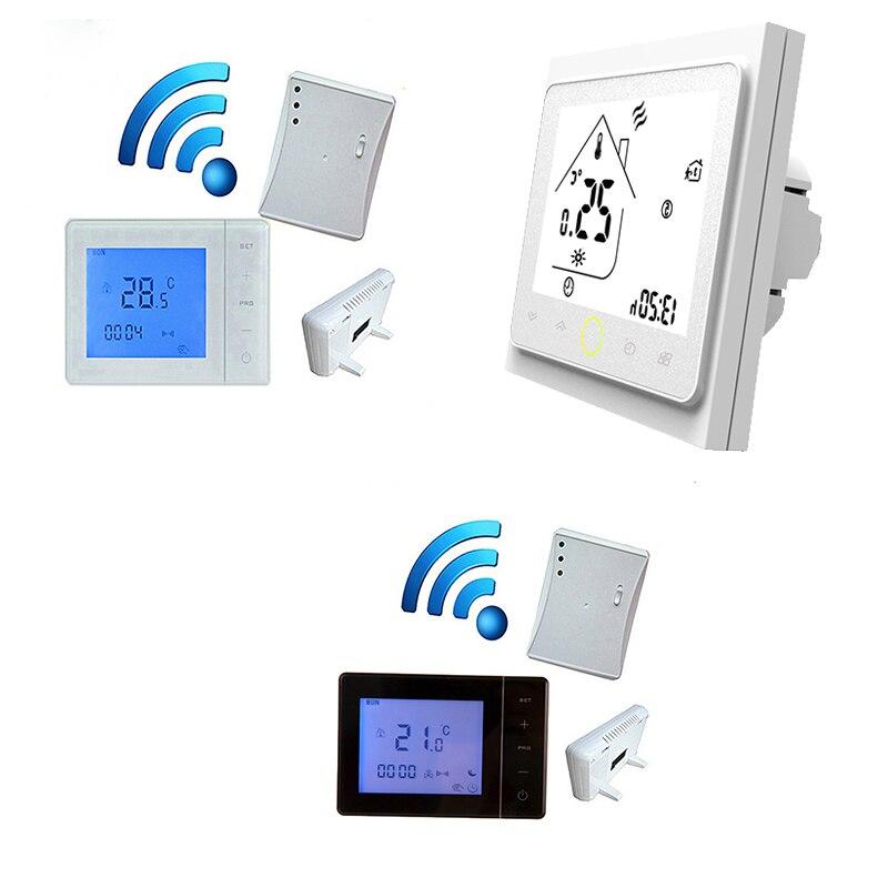 ترموستات لاسلكي مع وحدة تحكم في درجة الحرارة ، ترموستات لاسلكي 5A متحكم في درجة الحرارة على الحائط LCD 3A Modbus