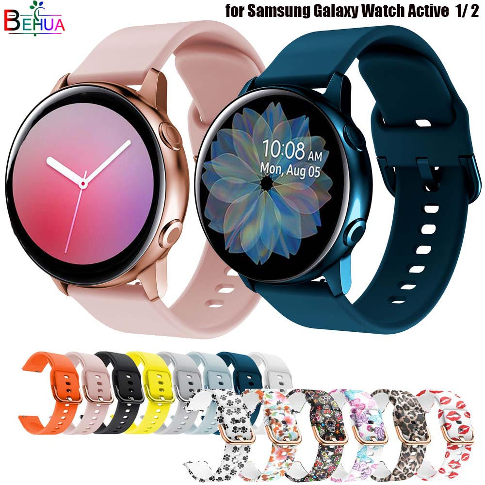 silicone Original 20mm band Strap For Samsung Galaxy Watch Active 2 40/44mm / 3 41mm smartwatch wristband For Huawei GT 2 42mm
