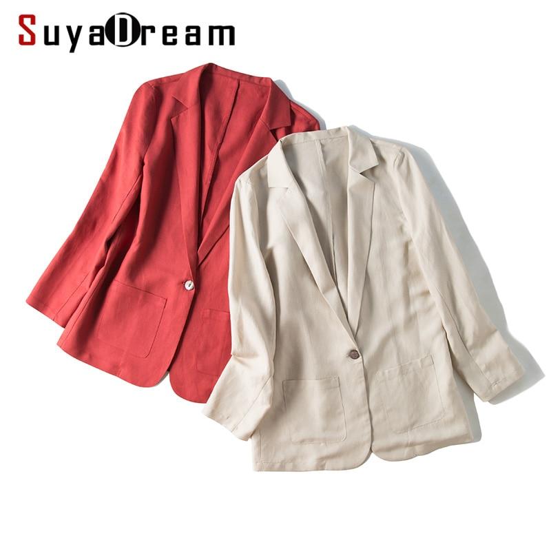 SuyaDream chaquetas de seda para mujer 50% seda 50% Lino botón único manga larga dos bolsillos Office Lady Blazers sólidos 2019 nuevo