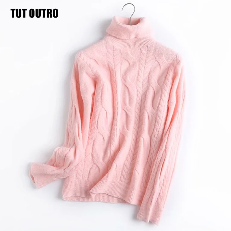 Fall Winter Casual Solid Loose Sweaters Women Fashion Twist Turtleneck Long Sleeve Korean Jumpers Oversized Female Pullover Tops