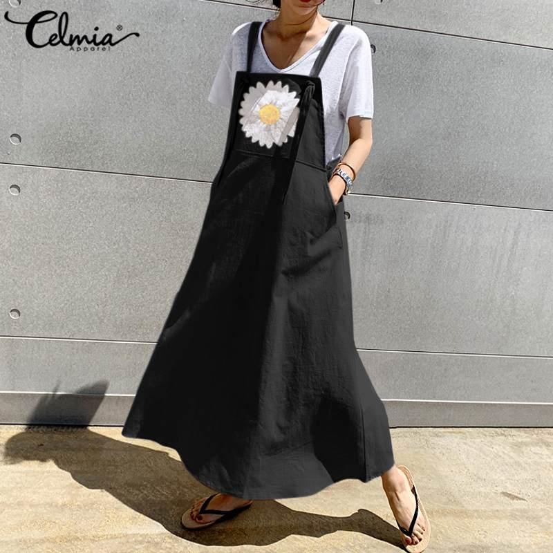Celmia vestido de verão tamanho grande, avental longo feminino casual solto de margarida estampado vintage suspensório 5xl