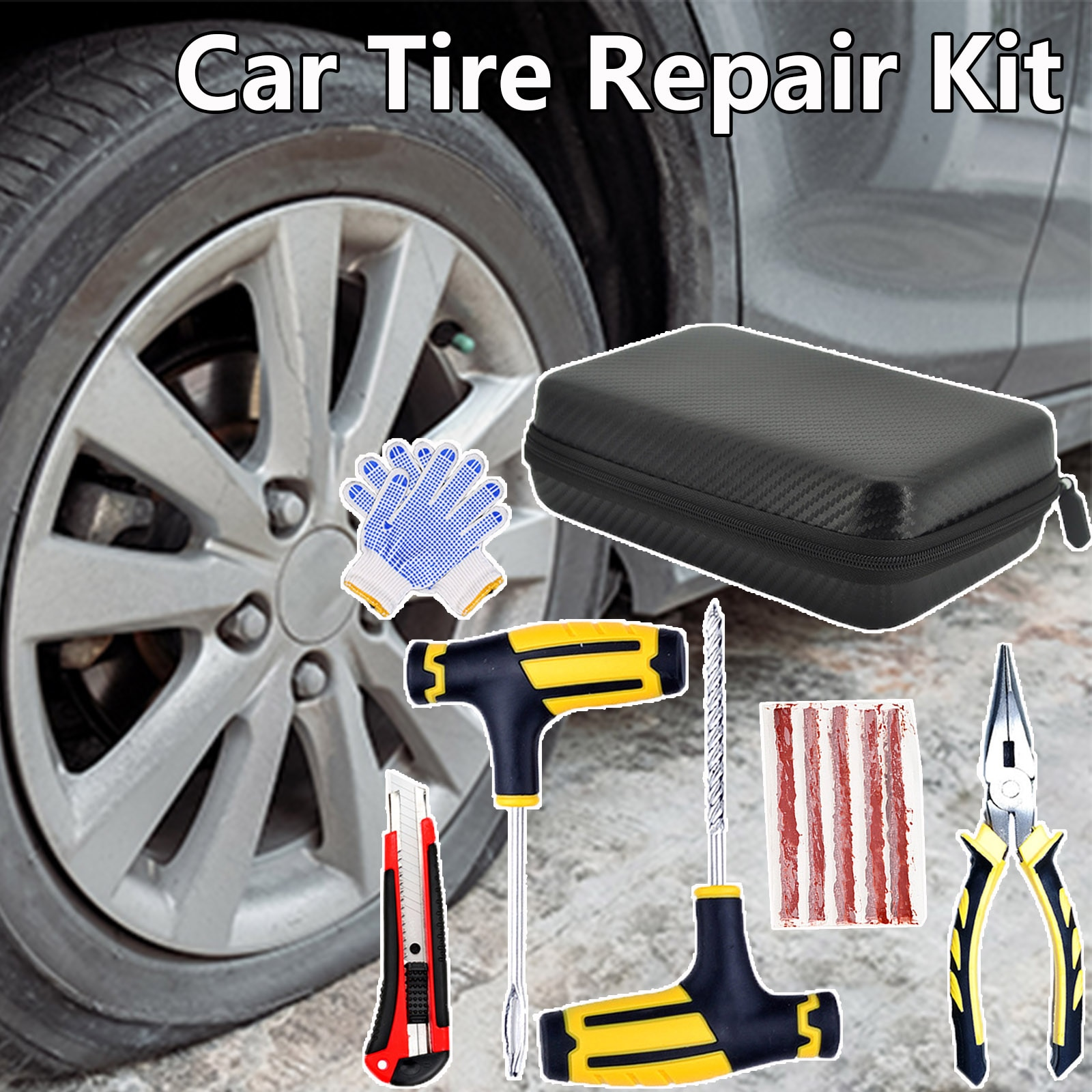 Набор инструментов для ремонта автомобильных шин, универсальный комплект инструментов из ЭВА для выкручивания автомобильных шин, игл, плос...