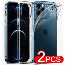Ультратонкий силиконовый мягкий чехол для iPhone 11 12 Pro XS Max X XR SE 2020 8 7 6S 6 Plus 5 5S 4, Ультратонкий Прозрачный чехол, 2 шт.